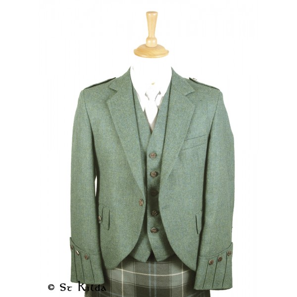 40L Forest Green Tweed Argyll Jacket and Waistcoat