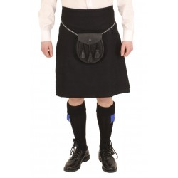 Full Plain Black Box Pleat Kilt