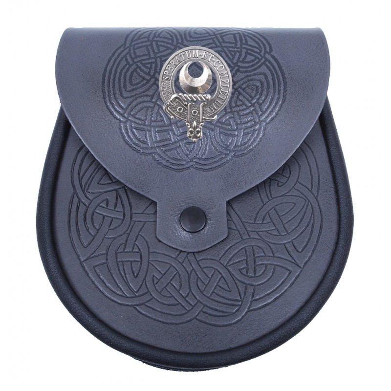 MacQueen Scottish Clan Badge Sporran Leather