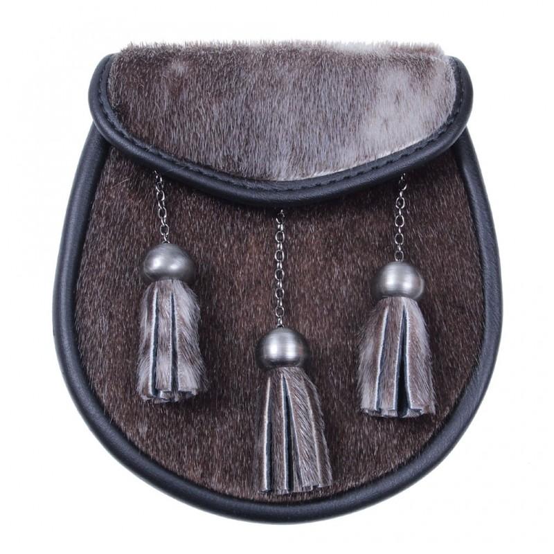 Semi Dress Sporran Pois fourrure synthétique marron en cuir Stag Badge En Poli Finition